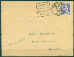 FRANCE  Obl DAGUIN Thème Vin POMEROLS / Herault Ses  / Vins Blancs / Et Rosés 15.02.1954  Sur Gandon TB. - Wines & Alcohols