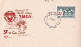 "Autstralia  1955 FDC YMCA  At Hazelbrook N.S.W. ""payment Request"" By ""invoice"" - 1952-65 Elizabeth II : Pre-Decimals"