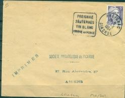 FRANCE  Obl DAGUIN Thème Vin PREIGNAC /SAUTERNES /  VINS BLANCS / Unique Au Monde 11.6.1954 GIRONDE TB.(lettres De 4 Mm) - Wines & Alcohols