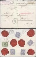 Fine Barbe - N°56 Et 60 X4 Sur Lettre Assuré (Valeur Déclaré : 4930 Frs) De Gembloux > Ganshoren (Bruxelles). - 1893-1800 Fijne Baard