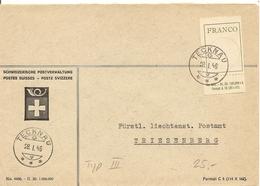 Schweiz,  28.1.1946 Brief Tecknau Triesenberg, Franco Typ 3, Mit Anhänger, Siehe Scans! - Switzerland