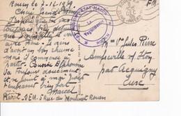 Sur Carte De Rouen, Cachet 3 Region Etat Major Rouen 1939 Drole De Guerre - Marcophilie (Lettres)