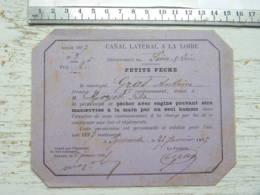 (71) Saône Et Loire - Carte De Pêche 1897 Canal Latéral à La Loire Petite Pêche IGUERANDE - Gras Antoine Goryot - Francia