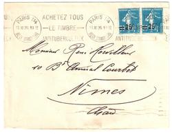 PARIS 114 Lettre 25c/30 Semeuse Bleu Yv 217 Ob 1926 Meca Krag Timbre Antituberculeux B114202 - Covers & Documents