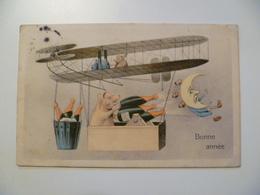 CPA / Carte Postale Ancienne / Bonne Année Cochons Champagne Avion - Nouvel An