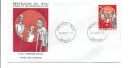 MALI FDC 1973 SOS HANDICAPES SOCIAUX - Mali (1959-...)