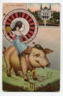06  Souvenir De MONTE CARLO  Port Bonheur Cochon Sur Une Table De Jeu Femme à La Piece De 20 Francs Or   écri  D10 2020 - Monaco