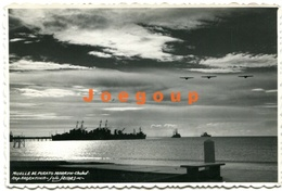 Postcard Port Ships Airplanes Barcos Aviones Muelle Puerto Madryn Chubut Argentina - Argentina