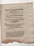 DECRET DE LA CONVENTION NATIONALE 1793 - INTERDIT SORTIE DES DRILLES OU CHIFFES ( CHIFFONS ) HORS LA REPUBLIQUE - Decrees & Laws