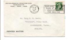 CANADA LETTRE DE CALGARY POUR L'ANGLETERRE 1961 - Lettres & Documents