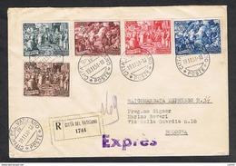 VATICANO:  1951  CALCEDONIA  -  S. CPL. 5  VAL. SU  BUSTA  RACC. ESPRESSO  -  ANNULLO  19.11.51  -  SASS. 149/53  -  SPL - Vatican
