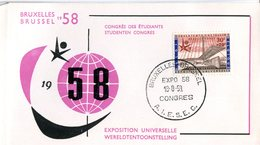14158157 Belgium 19580818 Bx Expo58; Congrès Des Etudiants; Pli - 1958 – Brussels (Belgium)