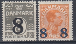 +M280. Denmark 1921-22. Provisories 8 øre. Michel 129-30. MNH(**) - 1913-47 (Christian X)