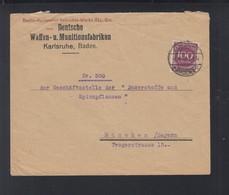 Dt. Reich Brief 1923 Waffen- U. Munizionsfabrik Karlsruhe - Deutschland