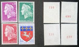 N° 1510b + 1536b + 1536Ab + 1536Bb Roulettes Avec N° Rouge Neuf TB Cote 55€ - 1967-70 Marianne (Cheffer)
