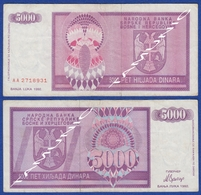 BOSNIA AND HERZEGOVINA BANJA LUKA WAR MONEY LOCAL ISSUES 5000 Dinara 1992 - Bosnia Y Herzegovina