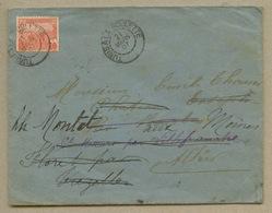 Ambulant Tunis à La Goulette Sur 10c Rouge Pour Bourbon L'Archambault Réexpédié Au Montet En 1907 - Other