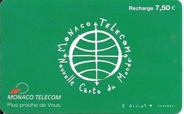 CARTE-PUBLIC-MONACO-CARTE RECHARCHE-7.5€-MF53d-VERTE 2-V°PN°Lasers-5-4-4-TBE - Monace