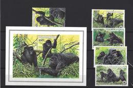 Rwanda:  1227/ 1231 + BF 99 **  Gorilles - Ruanda