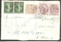 2c Et 1c Blanc Taxé Car Nouveau Tarif Du 01/01/17 - 5c X2 Semeuse Vert - Marcophilie (Lettres)