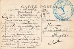 Marcophilie Cachet Guerre 1914 1918 Détachement De Sapeurs Télégraphistes Armée T Corps Cachet Octobre 1914 - Poststempel (Briefe)