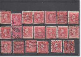 Etats-Unis - Georges WASHINTON, 20 Timbres A Et B, Perçage Publicitaire, Roulettes, Couleur - - Used Stamps