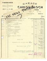 70 - Haute-saône - VESOUL - Facture BLOCH - Garage, Concessionnaire PANHARD, SALMSON, F.A.R. - 1954 - REF 152A - France