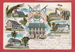 CPA: Liberia - Monrovia - Carte Lithographique , Church, Post-Office ..... - Liberia