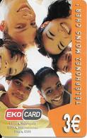 CARTE PREPAYEE-DOM TOM-EKOCARD-3€-ENFANTS REGARDANT-25000Ex-TBE-RARE - France
