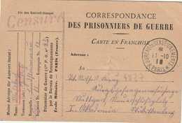 Carte FM Paris Bureau De Renseignement  Tad Du 11 10 18. Griffe CENSURE Violet - Guerre De 1914-18