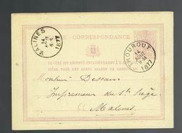 CP 6 De Sc Thourout ( Torhout ) 14 AOUT 1877 => Malines - Postwaardestukken