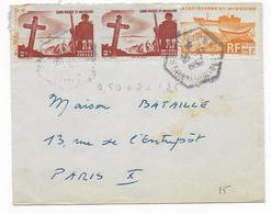 SPM - 1956 - ENVELOPPE Par AVION De SAINT PIERRE ET MIQUELON => PARIS - CACHET HEXAGONAL ! - St.Pierre & Miquelon