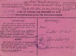 Lot Prisonnier Guerre Allemand Camp Huntsville Texas USA  1945 Kriegsgefangenenpost Card Of Capture Gefangenenmeldung - Marcophilie (Lettres)