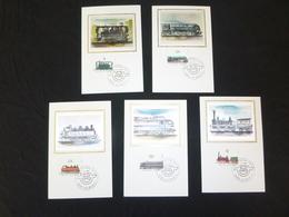 """BELG.1985 2170 2171 2172 2173 & 2174 Mcards Soie/zijde : """" Openbaar Vervoer / Transports  Publics """" - FDC"""