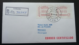 Cuba 1984 ATM (Frama Label Stamp FDC) *rare *registered *addressed Nicaragua - Cartas