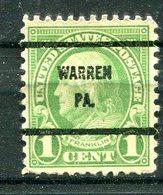 U.S.A. - Préoblitéré - Precancel - WARREN - PENNSYLVANIA - Etats-Unis