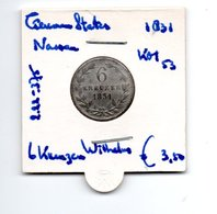 GERMAN STATES NASSAU 6 KREUZER 1831 ZILVER WILHELM - [ 1] …-1871 : Etats Allemands