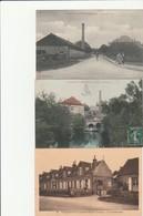 3 CPA:VILLENEUVE L'ARCHEVÊQUE (89) GENDARME CHEVAL DEVANT GENDARMERIE,HOMME BARQUE AU MOULIN,AVENUE DE LA GARE ANIMÉE - Villeneuve-l'Archevêque