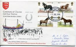 Great Britain Mi# 769-72 - Fauna Horses, Sea Rescue - FDC
