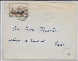 SPM - 1956 - FIDES Sur DEVANT DE LETTRE De  MIQUELON (CACHET HEXAGONAL !)  => PARIS - St.Pierre & Miquelon