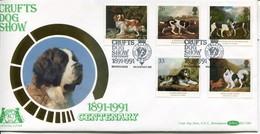 Great Britain Mi# 1305-9 FDC - Fauna Dogs - FDC