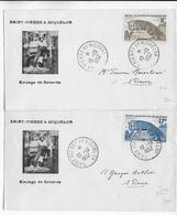 SPM - 1952 - YVERT N°345/346 Sur ENVELOPPES ILLUSTREE (ELEVAGE De RENARDS) De ST PIERRE ET MIQUELON - St.Pierre & Miquelon