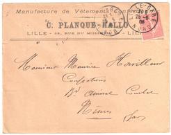 LILLE-GARE Nord Lettre Entête Vêtement Confection PLANQUE HALLO 10c Semeuse Lignée Yv 129 Ob 1908 Daguin LIL521 Type 04 - Postmark Collection (Covers)