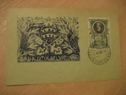 1957 Saint Peter Cancel Card Vaticano Poste Vaticane VATICAN Italy - Vatican