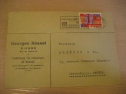 BIEL BIENNE Biel/Bienne 1958 To Geneve Sailing Tourism Cancel Cover Bern SWITZERLAND - Switzerland