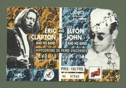 TICKET DE CONCERT ERIC CLAPTON ET ELTON JOHN HIPPODROME DE VINCENNES 18 JUIN 1992 - Concert Tickets
