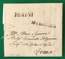 1840 RIMINI AFFRANCATA PER ROMA - 1. ...-1850 Prefilatelia
