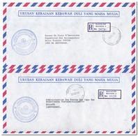 2 Registered Letters From Bandar Seri Begawan To Amsterdam - Brunei (1984-...)
