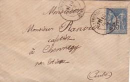 FRANCE : 1881 - Lettre De Troyes à Chennegy (par Estissac) - Type Sage - 1876-1898 Sage (Tipo II)