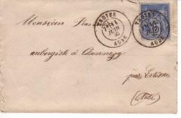 FRANCE : 1880 - Lettre De Troyes à Chennegy (par Estissac) - Type Sage - 1876-1898 Sage (Tipo II)